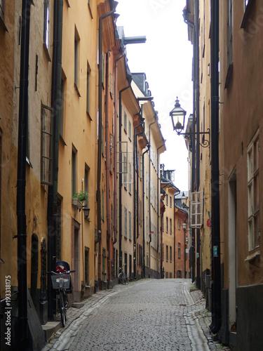 Wall Murals Narrow alley Urocze wąskie uliczki Sztokholmu