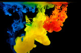 Color paint in water on a black background - 193321554