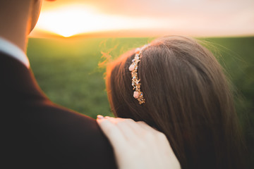 Beautiful wedding couple, love on the sunset. Fielf with flowers