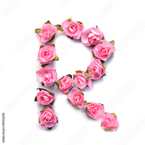 Foto Murales Letter R of English alphabet of pink roses on white background