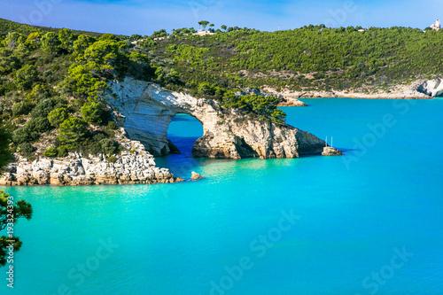 Plexiglas Freesurf Italian holidays in Puglia - Natural park Gargano with beautiful turquoise sea