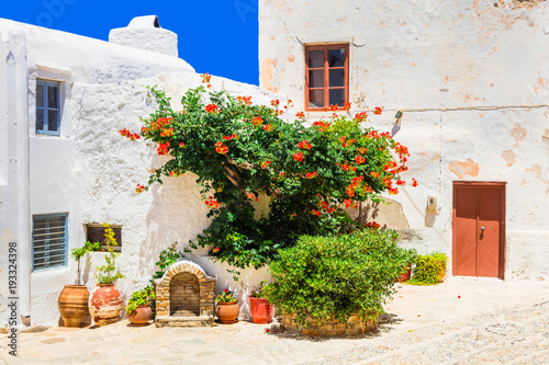 Plexiglas Freesurf Charming floral streets of old town in Naxos island. Greece