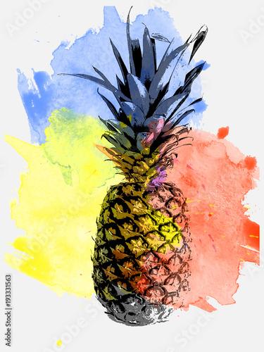 ananas-na-tle-akwarela-zolta-niebieska-czerwona