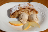 Apple Strudel with Ice Cream on Plate. Austria - 193333593
