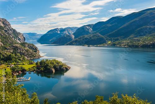 Fotobehang Groen blauw Norwegian fjord and mountains Lysefjord, Norway.