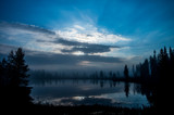 Serene, blue moment over a small lake in Lapland, Finland - 193335527