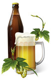 beer mug, hop, bottle - 193336394
