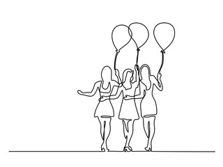 Continuous line drawing. Young women with air balloons. Vector illustration