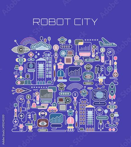 Foto op Canvas Abstractie Art Robot City vector illustration
