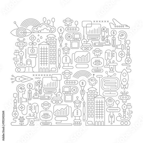 Fotobehang Abstractie Art Robot City doodle line art