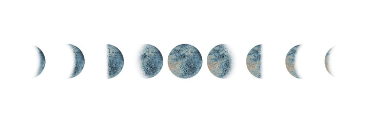 Moon phases set watercolor isolated © Olga