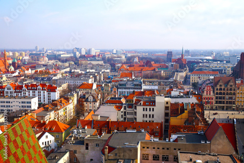 Fototapeta Panorama of Wroclaw, view of the center, new and old buildings, bird's-eye view