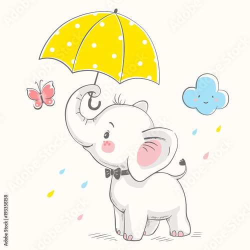 Fototapeta Cute elephant with umbrella cartoon hand drawn vector illustration. Can be used for baby t-shirt print, fashion print design, kids wear, baby shower celebration greeting and invitation card.