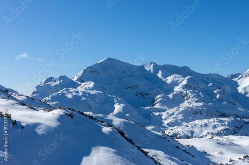 Fotobehang Blauwe jeans winter mountains of Slovenia beautiful landscape