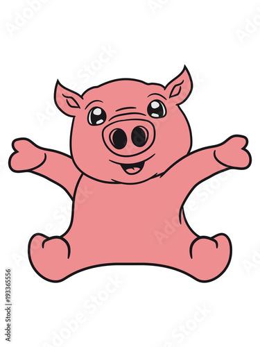 Gamesageddon Sitzend Freundlich Klein Kind Baby Schwein Gesicht