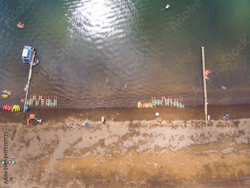 Fotobehang Zalm Aerial shot of the beach showing sand and water