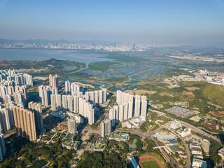 Top view of city urban in Hong Kong