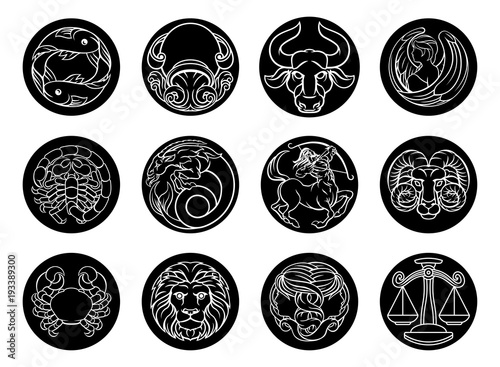Astrology horoscope zodiac star signs icon set © Christos Georghiou