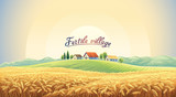Rural landscape with a wheat field and a village on a hill. Vector illustration. - 193395169