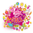 Hand drawn Big Spring Sale ink splash and Doodles art. For banners, posters, flyers, cards, invitations, labels. Vector illustration. Colorfull detailed objects and symbols isolated on background