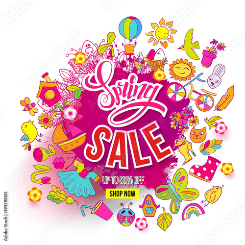 Fototapeta Hand drawn Big Spring Sale ink splash and Doodles art. For banners, posters, flyers, cards, invitations, labels. Vector illustration. Colorfull detailed objects and symbols isolated on background