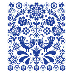Scandinavian cute folk art vector decoration with birds and flowers, Scandinavian navy blue floral pattern