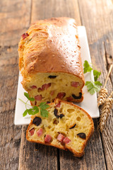 loaf bread with ham and olive