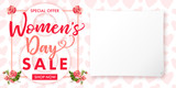 Happy Womens day rose flower Sale banner. Lettering sale banner for the International Womens Day, 8 March with text special offer, shop now, paper and heart