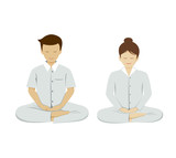 Thai people meditation collections isolated on white background. vector illustration
