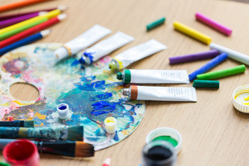 acrylic color or paint tubes and palette