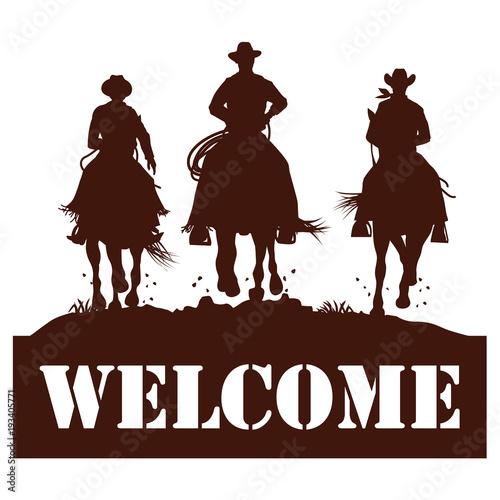Aluminium Bruin Welcome sign, Silhouette of cowboys riding horses, Vector