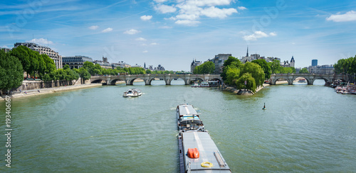 Wall mural Boat over Seine river, Paris