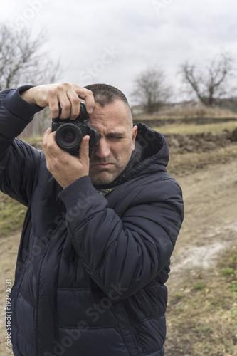 Photographer shooting outdoors scenery