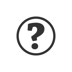 Question mark icon. Flat vector illustration in black on white background.