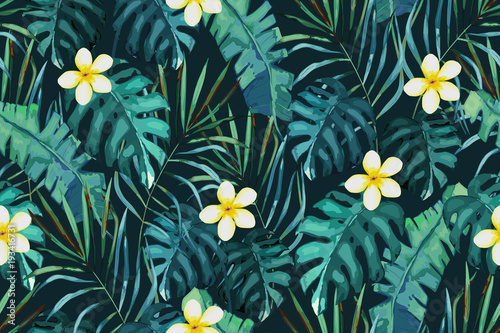 Cotton fabric Tropical seamless pattern. Palm tree leaves and flower. Hand drawn vector illustration. Summer background