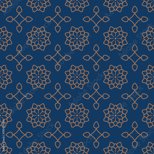 Seamless background southeast Asian retro aboriginal traditional art textile pattern star curve cross frame flower © Phoebe Yu