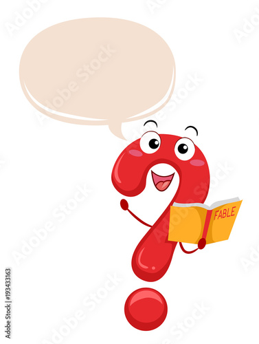 Mascot Question Mark Fable Book Illustration - 193433163