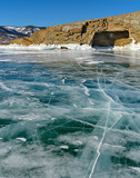 Russia. The unique beauty of transparent ice of lake Baikal.