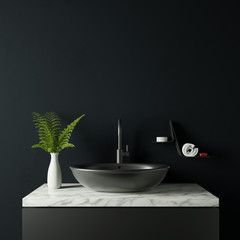Dark bathroom with plant and vase 3d rendering