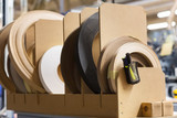 veneer or edge band tapes at woodworking factory - 193438507
