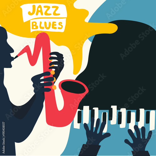 Jazz music festival poster with music instruments. Saxophone and piano flat vector illustration. Jazz concert poster with men playing saxopnome and piano © abstract