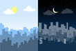 Random blue city skyline Vector. Difference between Day and Night. - 193453940