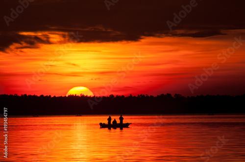 Deurstickers Oranje eclat Zachód słońca