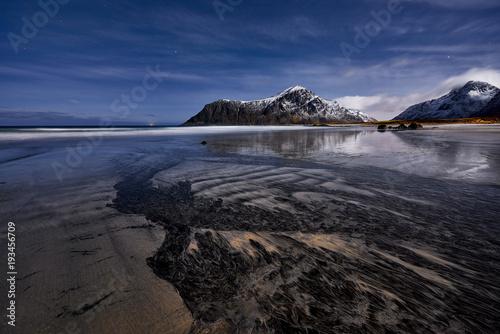 Aluminium Nachtblauw Skagsanden, Lofoten, Norway , panorama