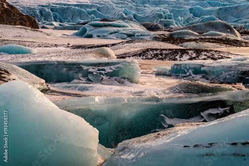 Aluminium Groen blauw frozen landscape at vatnajokull glacier, Iceland