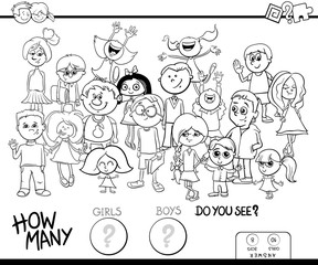 counting girls and boys game coloring book