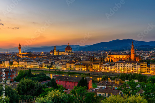 Aluminium Florence Sunset view of Florence, Palazzo Vecchio and Florence Duomo, Italy