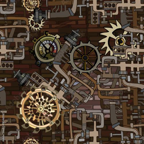 vektor-nahtlose-muster-abstrakter-industrieller-hintergrund-mit-fiktiven-zahnradern-und-details-von-den-maschinen-die-retro-technologie-oder-steampunk-konzept-veranschaulichen-handgemalt