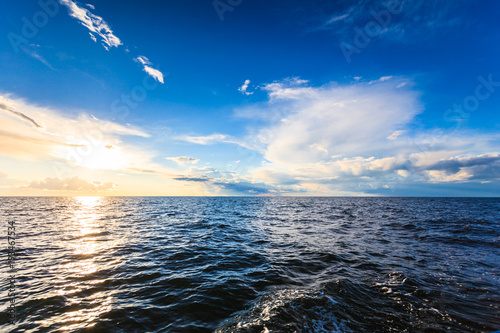Beautiful seascape evening sea horizon and sky