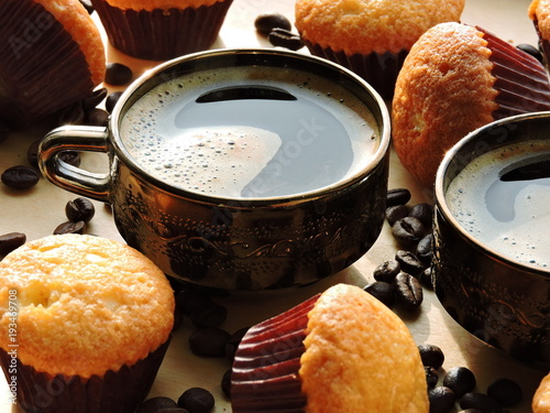 Sticker Mini muffins, coffee and coffee beans.